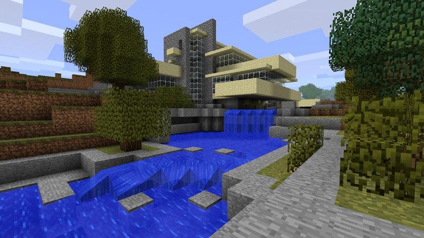 "4. spoketz - реплика ""Дома над водопадом"" Фрэнка Ллойда Райта (Minecraft)"
