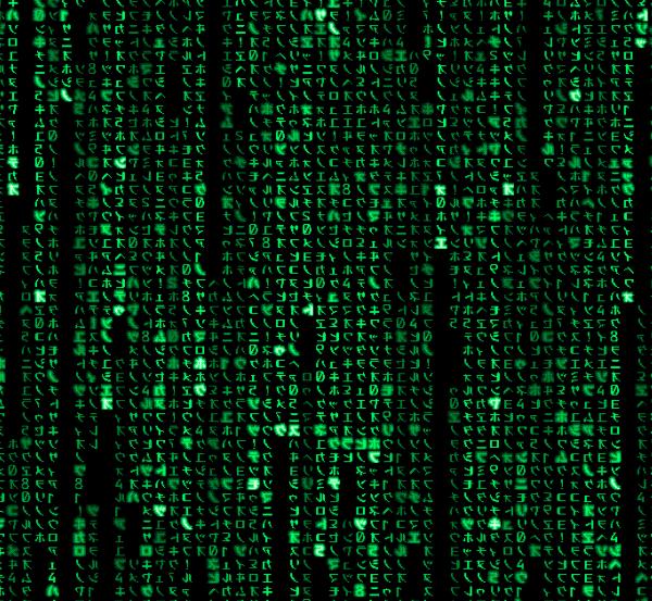 Рис.1. Символьная версия «Матрицы»: Продвинутые юзеры видят тут девушку в красном