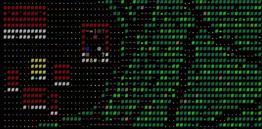 Рис.2. Символьная версия Dwarf Fortress: Продвинутые юзеры видят тут поселение дварфов