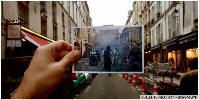 Рис.3. Фотография парижской улицы, сопоставленная с ее двойником внутри игры Assassin's Creed Unity [2014].